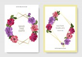 Peonie rosa e viola di vettore. Arte di inchiostro inciso. Salva la data di nozze invito carte grafico impostato banner