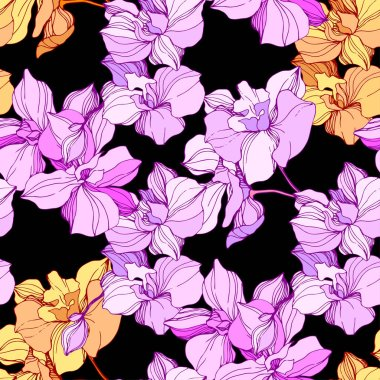 Vector pink and orange orchids. Wildflowers isolated on black. Engraved ink art. Seamless background pattern. Wallpaper print texture. clip art vector