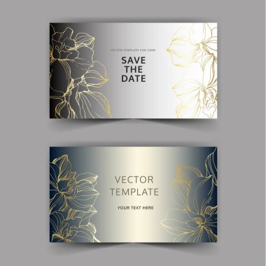 Vector orchids. Engraved ink art. Wedding background cards with decorative flowers. Invitation cards graphic set banner. stock vector