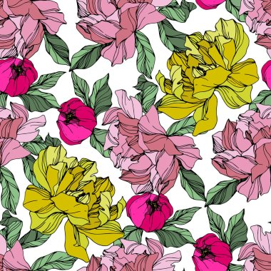 Vector Pink and yellow peonies. Wildflowers isolated on white. Engraved ink art. Seamless background pattern. Wallpaper print texture. clip art vector