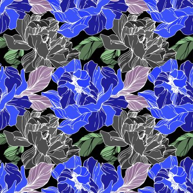 Vector blue, green and grey peonies. Wildflowers on black background. Engraved ink art. Seamless background pattern. Wallpaper print texture. clip art vector