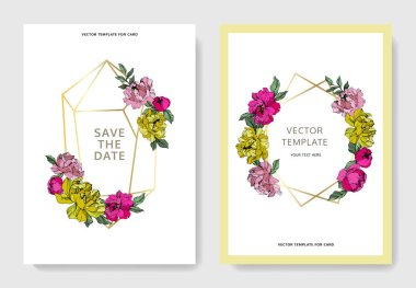 Vector pink and yellow peonies. Engraved ink art. Save the date wedding invitation cards graphic set banner. stock vector