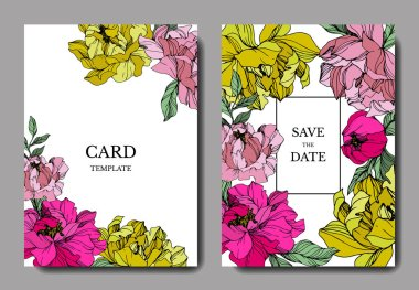 Vector pink and yellow peonies. Engraved ink art. Save the date wedding invitation cards graphic set banner. clip art vector