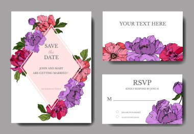 Vector pink and purple peonies. Engraved ink art. Wedding background cards with decorative flowers. Thank you, rsvp, invitation cards graphic set banner. clip art vector