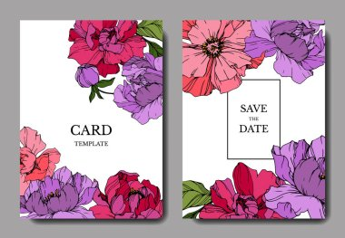 Vector pink and purple peonies. Engraved ink art. Save the date wedding invitation cards graphic set banner. stock vector