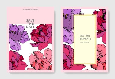 Vector pink and purple peonies. Engraved ink art. Save the date wedding invitation cards graphic set banner. clip art vector