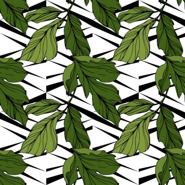 Vector green leaves on ornamental background. Engraved ink art. Seamless background pattern. Wallpaper print texture. stock vector