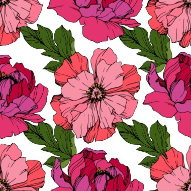 Vector Pink peonies. Wildflowers isolated on white. Engraved ink art. Seamless background pattern. Wallpaper print texture. stock vector