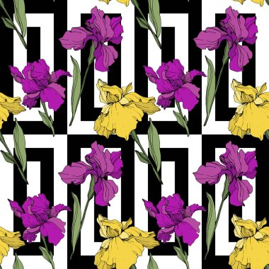 Vector purple and yellow irises. Wildflowers on ornamental background. Engraved ink art. Seamless background pattern. Wallpaper print texture. stock vector