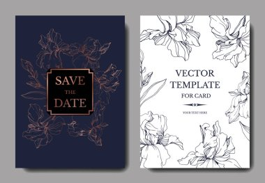 Vector irises. Engraved ink art. Wedding background cards with decorative flowers. Invitation cards graphic set banner. clip art vector