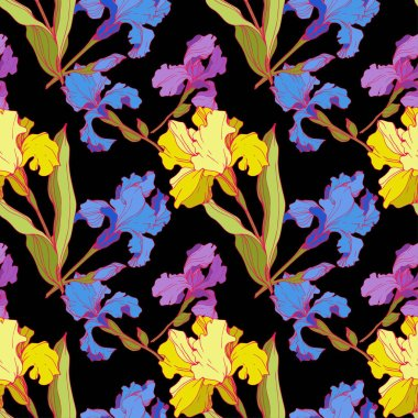 Vector Irises isolated on black. Colorful wildflowers. Engraved ink art. Seamless background pattern. Wallpaper print texture stock vector