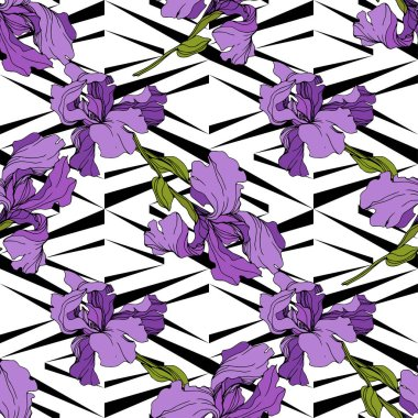 Vector purple Irises on ornamental background. Colorful wildflowers. Engraved ink art. Seamless background pattern. Wallpaper print texture clip art vector