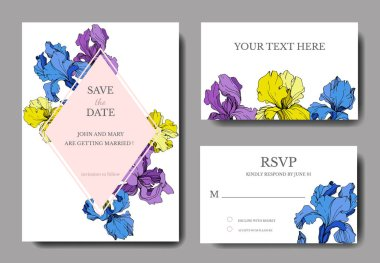 Vector irises. Engraved ink art. Wedding cards with decorative flowers on background. 'save the date', 'rsvp', invitation cards graphic set banner. clip art vector