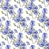 Vektorové modré lnu. Květy, izolované na bílém. Ryté inkoust umění. Vzor bezešvé pozadí. Tiskové textura tapety.