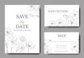 Vektorflachs. Tuschebilder. Hochzeitshintergrundkarten mit dekorativen Blumen. rsvp, Einladungskarten grafisches Set Banner.