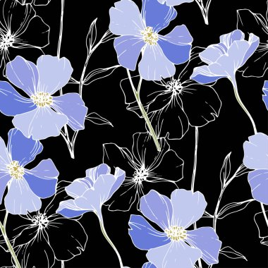 Vector Blue flax. Wildflowers isolated on black. Engraved ink art. Seamless background pattern. Wallpaper print texture. stock vector