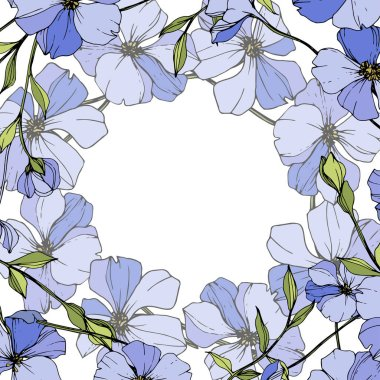 Vector Blue flax. Wildflowers isolated on white. Engraved ink art. Floral frame border. clip art vector