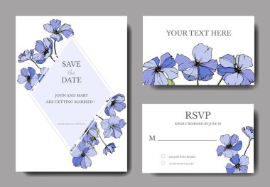 Vector Flax. Engraved ink art. Wedding background cards with decorative flowers. Rsvp, invitation cards graphic set banner stock vector