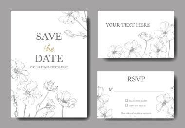 Vector Flax. Engraved ink art. Wedding background cards with decorative flowers. Rsvp, invitation cards graphic set banner. clip art vector