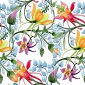Ornament květinové botanické květin. Sada akvarel pozadí obrázku. Akvarel, samostatný výkresu módní aquarelle. Vzor bezešvé pozadí. Fabric tapety tisku textura