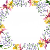 Aquarell Hintergrundillustration Set. Aquarell leerer Rahmen Bordüre florales Ornament mit Kopierraum.