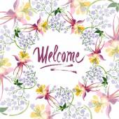 Ilustrace akvarel zázemí s florálním ornamentem a uvítací nápisy
