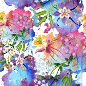 Aquarell Hintergrund Illustration florales Set. nahtlose Hintergrundmuster. Stoff Tapete drucken Textur.