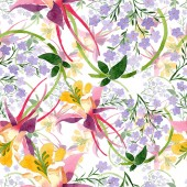 Watercolor background illustration floral set. Seamless background pattern. Fabric wallpaper print texture.