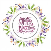 Watercolor background illustration set with floral ornament and happy birthday lettering