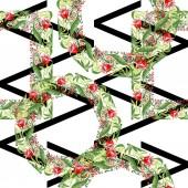 Červená květinové botanické květin. Divoký jarní listové izolované. Sada akvarel ilustrace. Akvarel výkresu módní aquarelle. Bezproblémové ornament vzorek pozadí. Fabric tapety tisku textura.