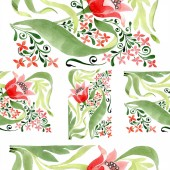 Red floral botanical flower. Wild spring leaf isolated. Watercolor illustration set. Watercolour drawing fashion aquarelle. Seamless ornament background pattern. Fabric wallpaper print texture.