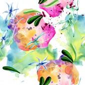 Fényképek Kék ritka orchidea. Virágos botanikai virág. Vad tavaszi levél. Akvarell illusztráció készlet. Akvarell rajz divat aquarelle elszigetelt. Varratmentes háttérben minta. Anyagot a nyomtatási textúrát