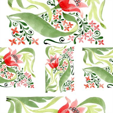 Red floral botanical flower. Wild spring leaf isolated. Watercolor illustration set. Watercolour drawing fashion aquarelle. Seamless ornament background pattern. Fabric wallpaper print texture. stock vector