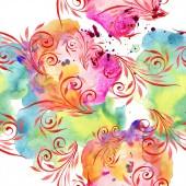 Barevné květinové botanické ornament. Sada akvarel ilustrace. Vzor bezešvé pozadí. Fabric tapety tisku textura