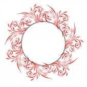 Piros virág dísz kavarog. Akvarell háttér illusztráció készlet. Test határ dísz a másol hely.
