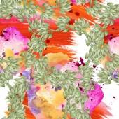 Fényképek Színes virág botanikai dísz. Akvarell illusztráció készlet. Varratmentes háttérben minta. Anyagot a nyomtatási textúrát.