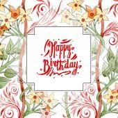Színes virág botanikai dísz kavarog. Akvarell háttér illusztráció készlet. Test határ dísz-felirat.
