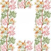 Színes virág dísz kavarog. Akvarell háttér illusztráció készlet. Test határ dísz a másol hely.