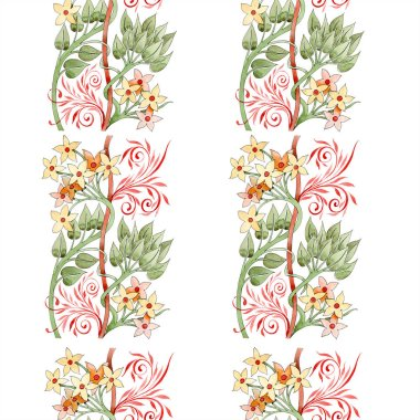 Colorful floral botanical ornament. Watercolor illustration set. Seamless background pattern. Fabric wallpaper print texture. stock vector