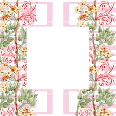 Colorful floral ornament with swirls. Watercolor background illustration set. Frame border ornament with copy space. stock vector