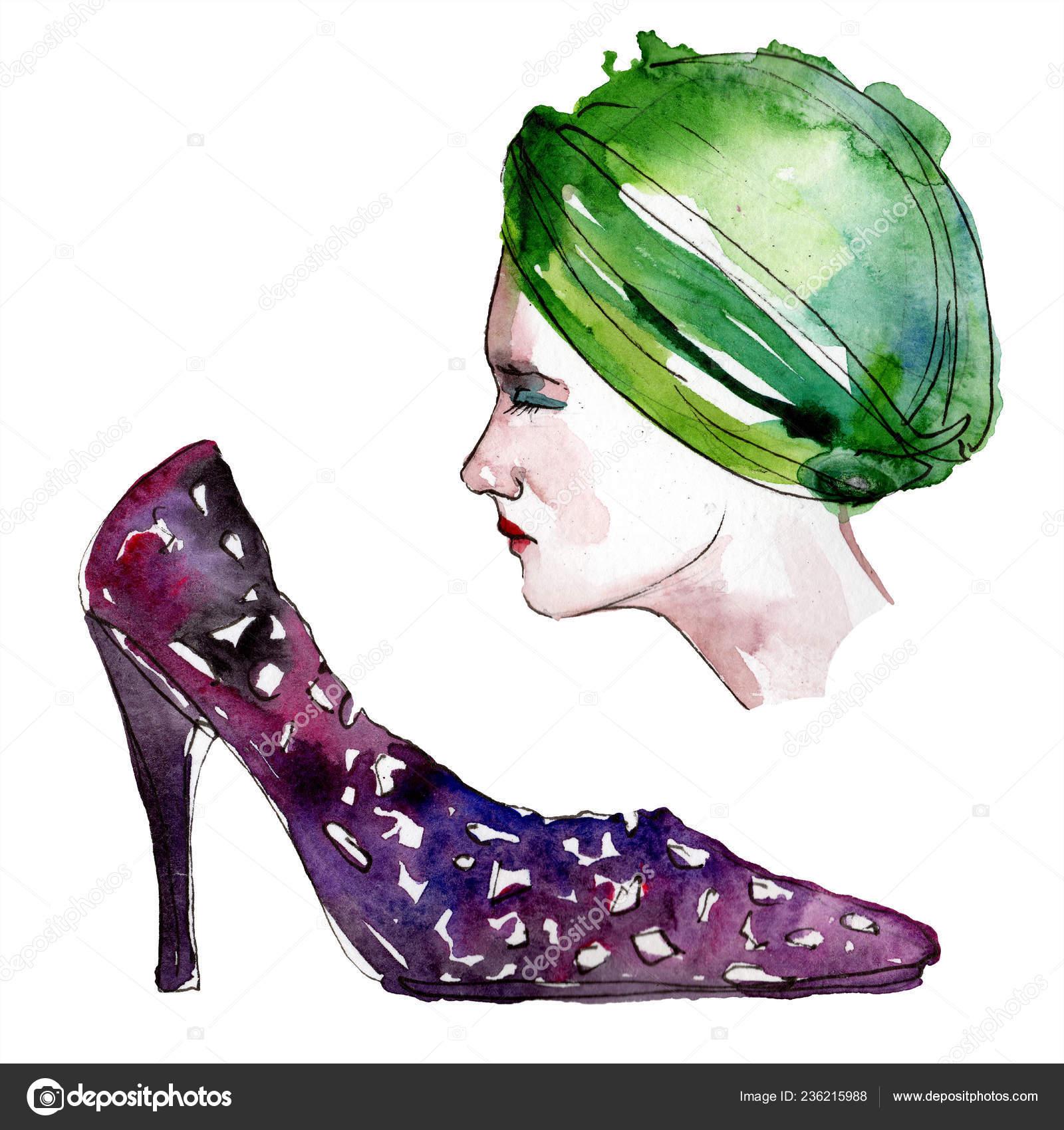a8f662da48c Шляпа Обуви Эскиз Иллюстрация Гламур Моды Стиле Акварели Одежда Аксессуары  — стоковое фото