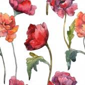 Piros pipacs floral botanikus virág. Vad tavaszi levél. Akvarell illusztráció készlet. Akvarell rajz divat aquarelle elszigetelt. Varratmentes háttérben minta. Anyagot a nyomtatási textúrát