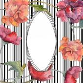 Červeného máku květinové botanické květin. Divoký jarní listové wildflower izolován. Sada akvarel pozadí obrázku. Akvarel, samostatný výkresu módní aquarelle. Frame hranice ozdoba náměstí.