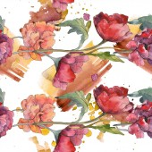 Fotografie Red poppy floral botanical flower. Wild spring leaf. Watercolor illustration set. Watercolour drawing fashion aquarelle isolated. Seamless background pattern. Fabric wallpaper print texture.