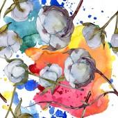 Fotografie Bílé bavlněné botanické květin. Divoký jarní listové wildflower. Sada akvarel ilustrace. Akvarel, samostatný výkresu módní aquarelle. Vzor bezešvé pozadí. Fabric tapety tisku textura.