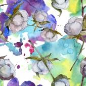 Bílé bavlněné botanické květin. Divoký jarní listové wildflower. Sada akvarel ilustrace. Akvarel, samostatný výkresu módní aquarelle. Vzor bezešvé pozadí. Fabric tapety tisku textura.