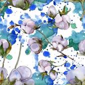 Bavlněné květiny. Sada akvarel pozadí obrázku. Vzor bezešvé pozadí.