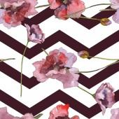 Fotografie Fialový červeného máku květinové botanické květ. Divoký jarní listové izolované. Sada akvarel ilustrace. Akvarel výkresu módní aquarelle. Vzor bezešvé pozadí. Fabric tapety tisku textura.