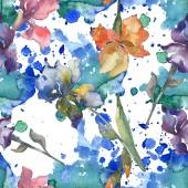Fialové, červené, oranžové a modré kosatce květinové botanické květin. Sada akvarel zázemí. Akvarel výkresu módní aquarelle. Vzor bezešvé pozadí. Fabric tapety tisku textura.