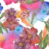 Fotografie Květiny kamélie červená a fialová. Sada akvarel ilustrace. Vzor bezešvé pozadí. Fabric tapety tisku textura